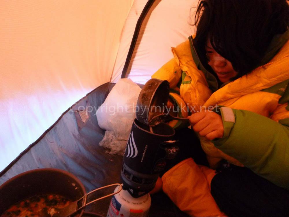アコンカグア登山:上部キャンプ(C2 ニド・デ・コンドレス)での食事