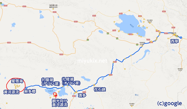 黄河源流への道 地図