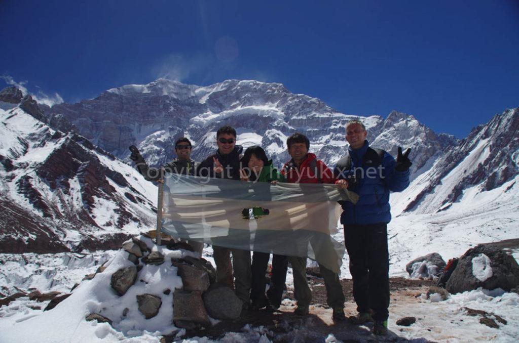 アコンカグア登山2日目 アコンカグア南壁で記念撮影!Aconcagua south face