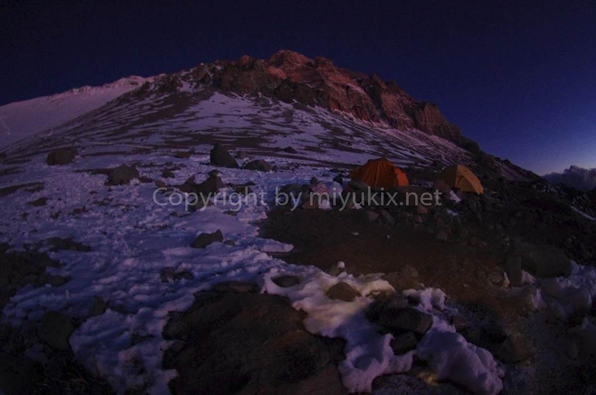 アコンカグア登山6日目 C2 ニド・デ・コンドレスの黄昏 Nido de Condores Aconcagua Expedition